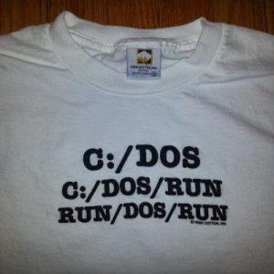 0s C:/DOS/RUN T-Shirt Techie Geek Computer Parody Sz XL