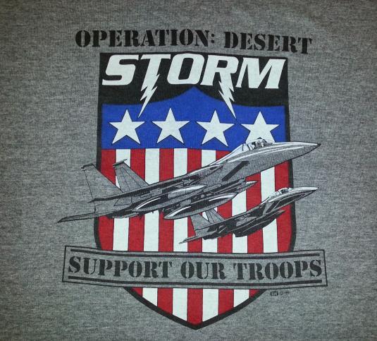 90s 1991 Desert Storm T-Shirt F-15 Eagle Plane TRI-BLEND XXL