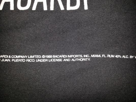 VTG 80s BACARDI BLACK T-Shirt Art Deco Premium Rum Promo XL