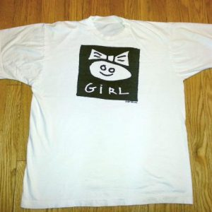 80s Boy-Girl T-Shirt Girl with Bow Tracey Glick B/W XL