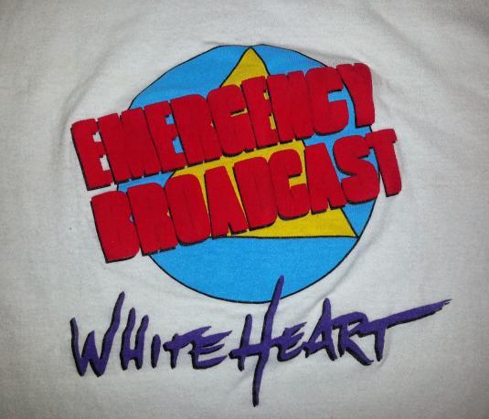 80s 1987 White Heart Emergency Broadcast T-Shirt Band Tee M