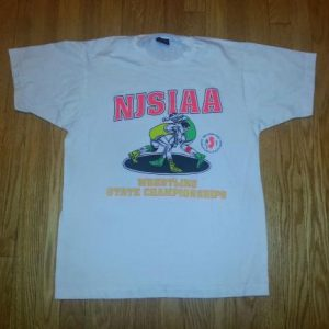 90s Wrestling T-Shirt NJ State Championships Neon Converse