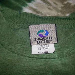Vintage 90s US ARMY T-shirt Liquid Blue Tie-Dye Green XL-2XL