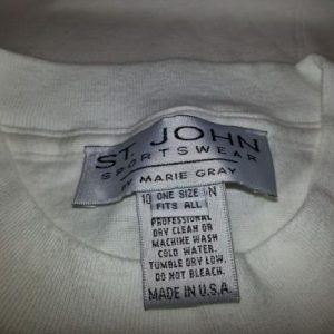 80s 90s St. John Marie Gray T-Shirt White Silver Logo XXL