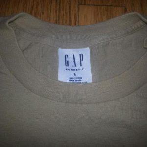 90s Gap Pocket Tee T-Shirt Blank Khaki Made in USA Sz XL