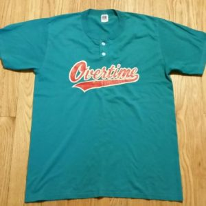 80s 90s Overtime Baseball Softball Button T-Shirt Russell L