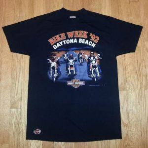 90s Harley Davidson Bike T-Shirt 3D EMBLEM 1992 Bike Week L