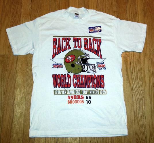 NWT Vtg 80s SF 49ERS T-Shirt 88 89 Super Bowl Bronco Sz L