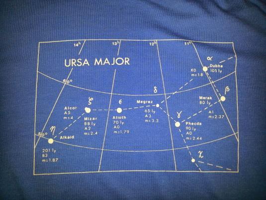 Vintage 80s T-Shirt Ursa Major Constellation Astronomy Sz L