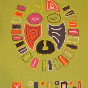 Vintage 80s T-Shirt Tribal Mask Neon Sz L to XL