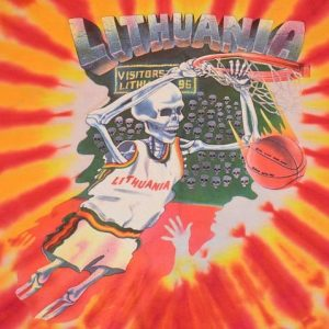 Vintage 90s Grateful Dead Lithuania Olympic Basketball Tee L