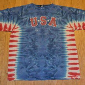 VTG 90s USA T-Shirt Liquid Blue Tie Dye Patriotic XXL 2XL