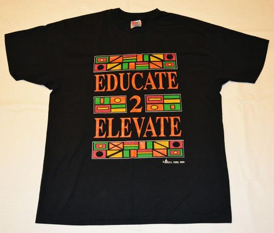 """Vintage 90s Neon """"Educate to Elevate"""" T-Shirt"""