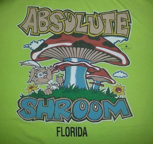 VTG 80s 90s 'Shroom T-Shirt Mushrooms High Rabbit Drugs XL