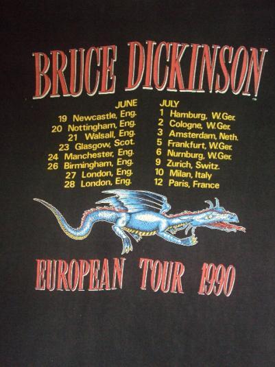 VINTAGE 1990 BRUCE DICKINSON TOUR T-SHIRT
