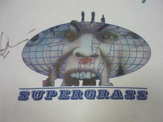 VINTAGE 1995 SUPERGRASS US TOUR FULL AUTOGRAPHED T-SHIRT