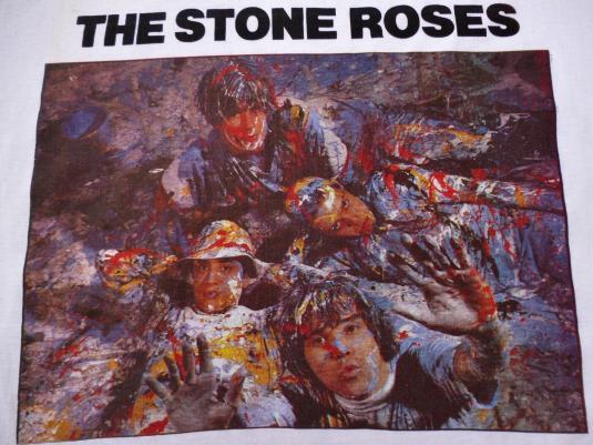 VINTAGE 1980s THE STONE ROSES SILVERTONE PROMO T-SHIRT