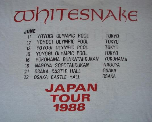 VINTAGE 1988 WHITESNAKE TOUR T-SHIRT