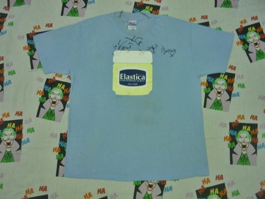 VINTAGE 1995 ELASTICA FULL AUTOGRAPHED VASELINE TOUR T-SHIRT