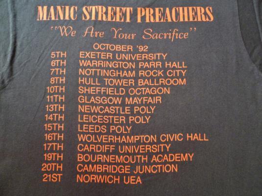VINTAGE 1992 MANIC STREET PREACHERS TOUR T-SHIRT