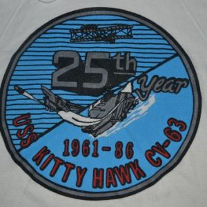 Vintage 1986 25th Year USS KITTY HAWK CV-63 Hoodie shirt