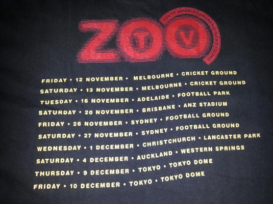 Vintage 1993 U2 Zooropa Tour Concert Promo album T-shirt