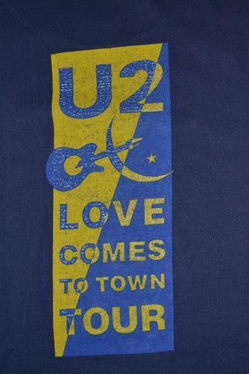 Vintage U2 Love Comes To Town Tour Concert Promo1989 T-shirt
