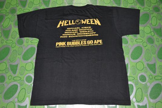 Vintage 1991 HELLOWEEN Pink Bubbles Go Ape Tour promo Tshirt
