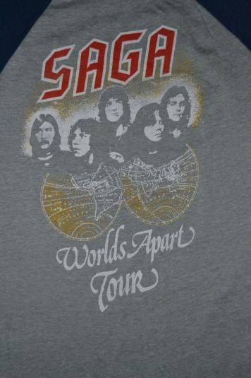 Vintage 80s SAGA Worlds Apart Tour Concert Baseball Jersey