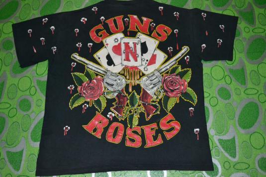 Vintage 1991 GUNS N ROSES all over print Tour promo T-shirt