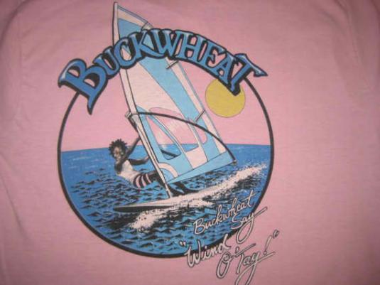Weird 1980's t-shirt with Buckwheat windsurfing, M
