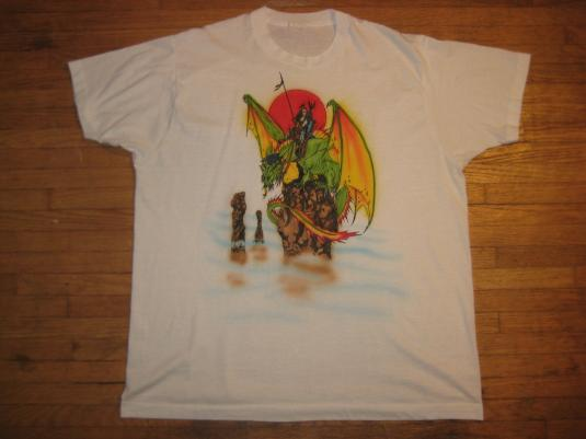 Wicked sweet vintage t-shirt- warrior babe riding a dragon