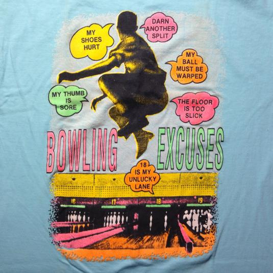 Vintage Funny 1980's bowling excuses t-shirt
