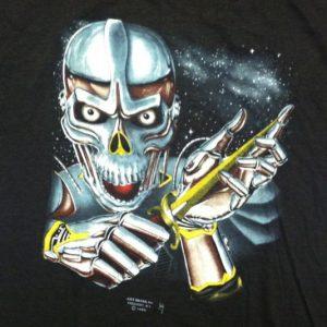 Vintage 3D Emblem robot cyber skeleton t-shirt