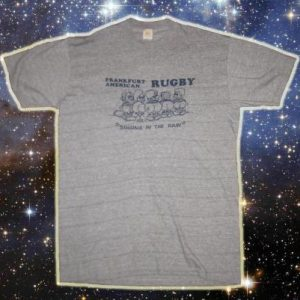 Vintage 1980's rayon blend rugby t-shirt, XL