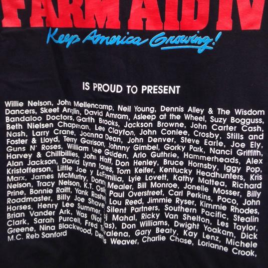 Vintage 1990 Farm Aid IV concert t-shirt