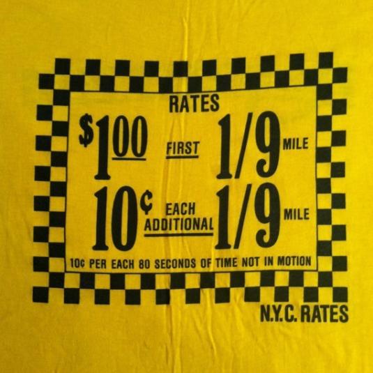 Vintage Rhinestone movie NYC cab rates t-shirt