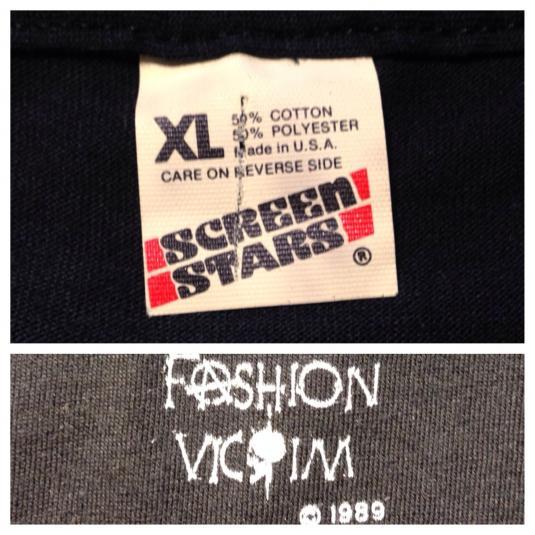 Vintage 1980's Fashion Victim skull, knife, & snake t-shirt