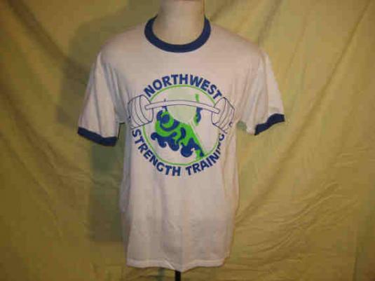 1980's Strength training vintage ringer t-shirt, XL