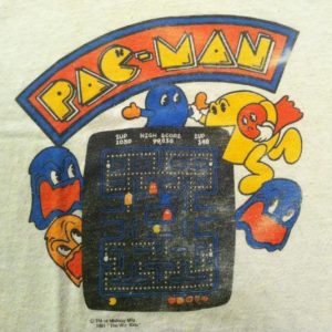 Vintage 1980's PAPER THIN Pac Man video game t-shirt
