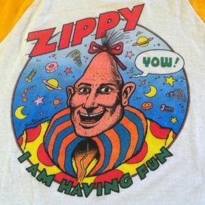 Vintage 1980's Zippy The Pinhead comic strip raglan t-shirt