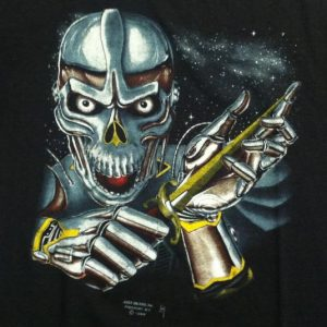 Vintage 1980's 3D Emblem cyber space skull t-shirt
