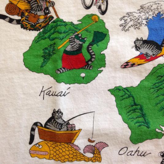 Vintage Kliban Cats Hawaiian Islands t-shirt