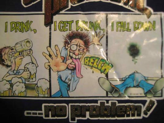1980's gettin' drunk vintage t-shirt, L XL