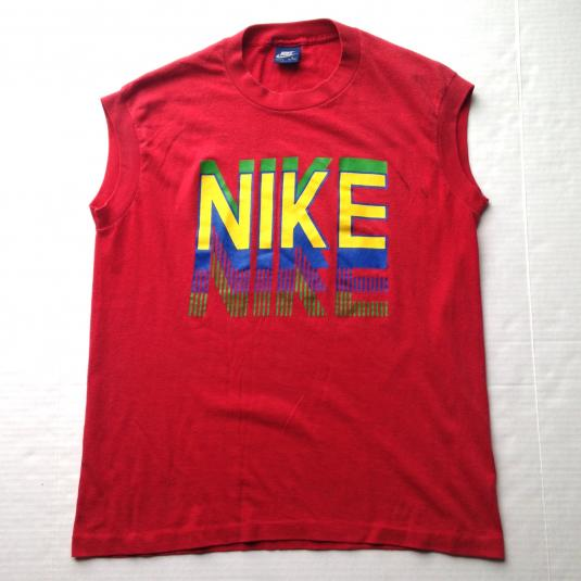 Vintage 1980's Nike blue tag rainbow spellout t-shirt