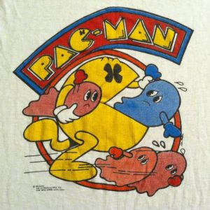 Vintage PAPER THIN 1980's PAC MAN video game t-shirt