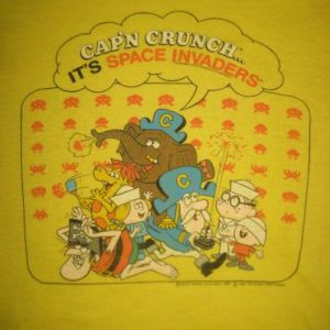 Vintage 1982 Cap'n Crunch Space Invaders t-shirt, XS-S