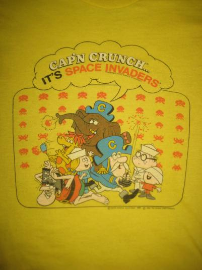 Vintage 1982 Cap'n Crunch Space Invaders t-shirt, XS-S