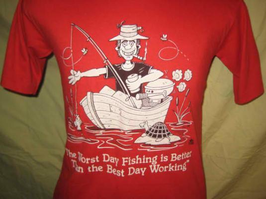 1980's screw work, go fishing vintage t-shirt, M