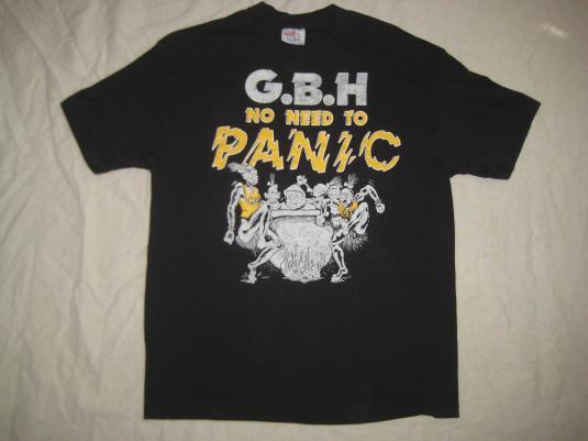 Original vintage 1987 GBH t-shirt, No Need To Panic